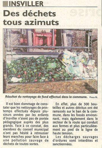ARTICLES PRESSE RAMASSAGE DECHETS