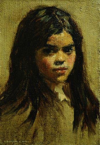 Salvador Amenabar - Retrato Niña - 33x27cms