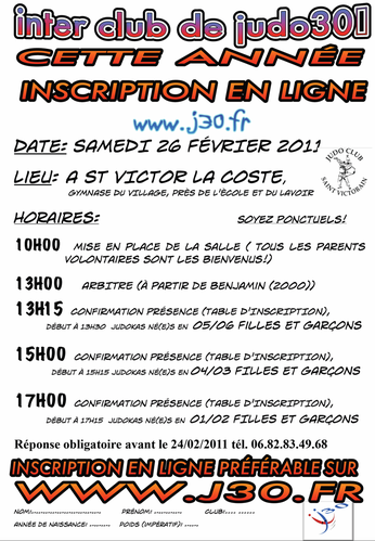 horaire interclub St victor 2011