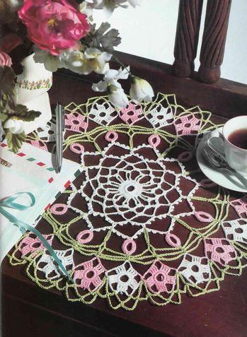 napperon rose et blanc