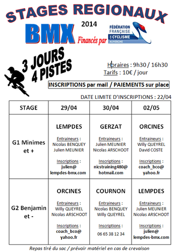 affiche STAGES REGION 2014