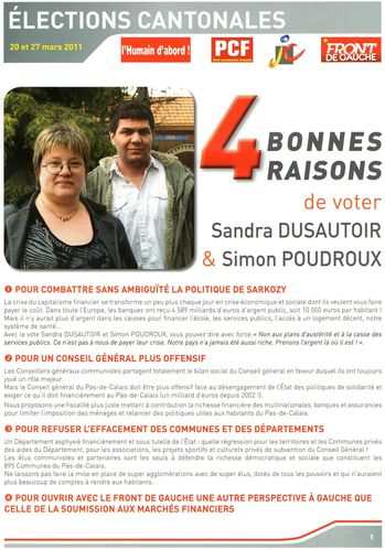 Elections cantonales - tract