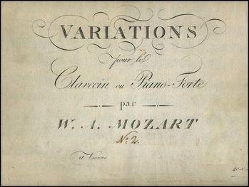 Mozart Variations La belle Françoise Artaria 1801