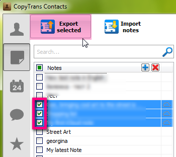 export icloud notes to computer via copytrans contacts