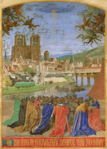 jean fouquet main de dieu protegeant contre demons