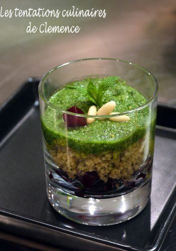 Bonduelle verrine betterave taboulé pesto chaud