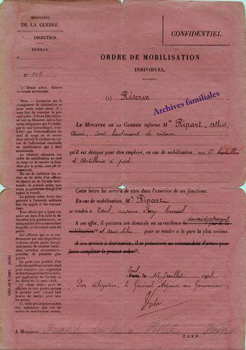 14-18 Ordre de Mobilisation individuel A.Ripart. 1908