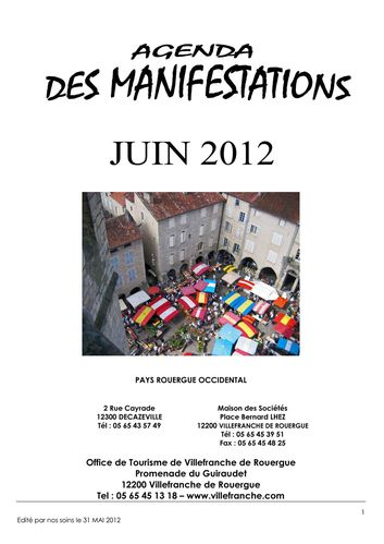 Agenda Manifestations Juin 2012 Rouergue Occidental
