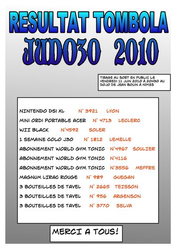 resultats tombola 2010