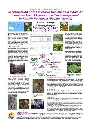 Meyer 2008 Poster miconia eradication 16th Australian Weeds