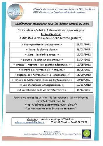 cycle conférences 2012