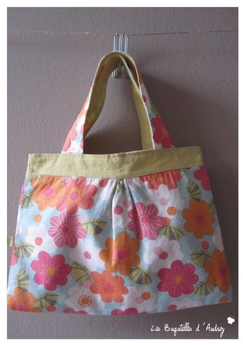 sac fillette fleurs oranges