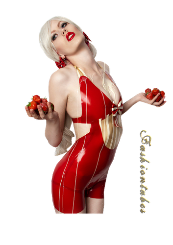 femme maillot rouge fraise