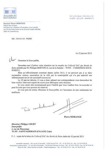 Député P.MORANGE - Courrier Sous-préfet 20130123