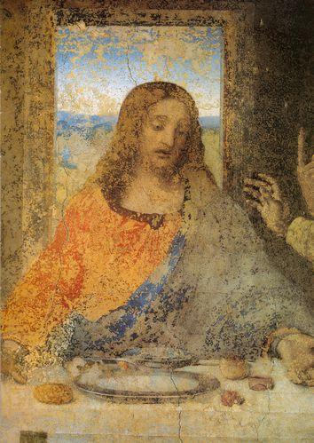 1495 1498 Léonard de Vinci La Cène Détail le Christ