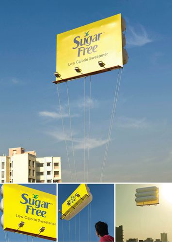 Sugar free billboard ad floating in the air