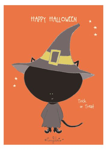 halloween card girl