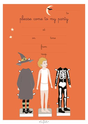 paper doll invitation-halloween