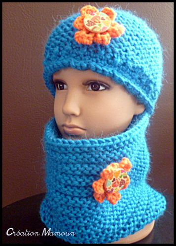 ensemble bonnet et snood bleu 4