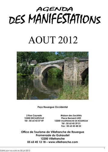 Agenda Manifestations Aout 2012 Rouergue Occidental