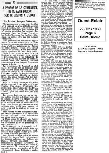 19390222 Ouest-Eclair, Article René Villard sur l'école e