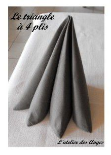 Pliage de serviette le triangle 4 plis l 39 atelier des anges - Pliage serviette facile et rapide ...