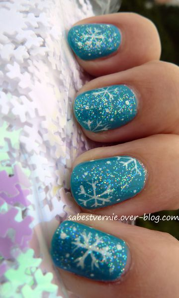 nail art flocon de neige snowflake 2