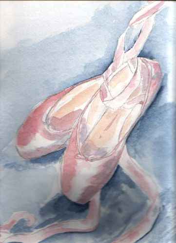 aquarelle chaussons roses