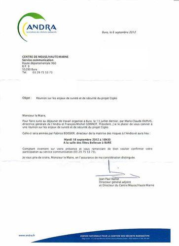 Lettre ANDRA-élus -06 09 12 Bertrand Thuillier