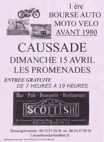 Avril 2012 Affiche Bourse Motos Anciennes Caussade