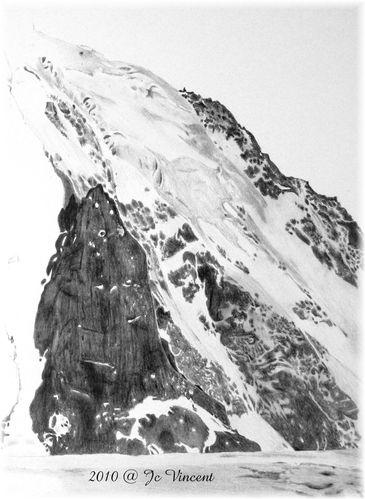 03 - dessin de montagnes enneigées