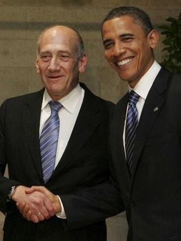 Olmert greeting Obama