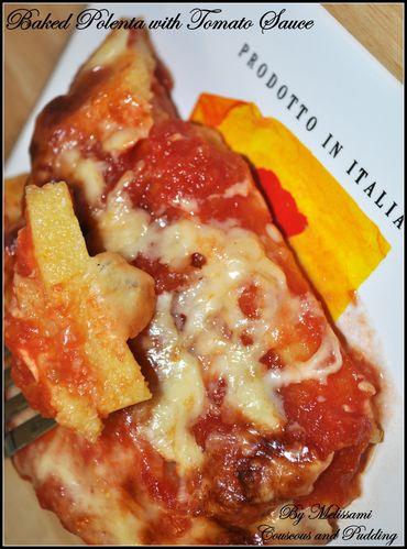 bakes polenta with tomato sauce