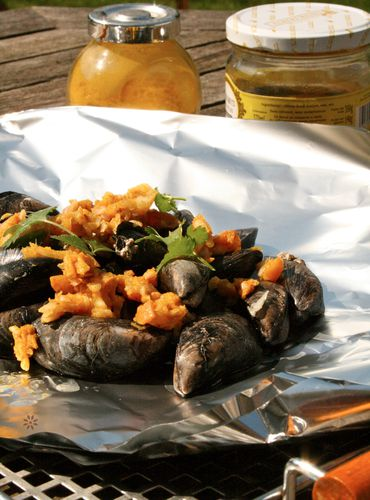 Papillote de Moule au barbecue traditionnel ou electrique