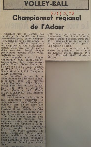 Volley Création Chpt Adour 11-10-1973