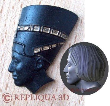 Portrait en Nefertiti ebene or - Repliqua3D: sculpteur portraitiste