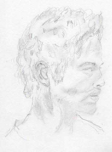 Visage De Jeune Homme De Profil Dessin Croquis Au Crayon