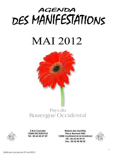 Agenda Manifestations Mai 2012 Rouergue Occidental