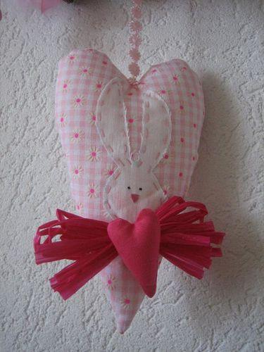 coeur lapin tilda rose 1
