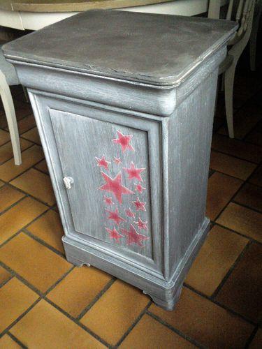 Chevet louis philippe repeint d co peinture nadine - Table de chevet a peindre ...
