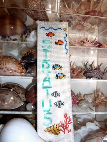 marque-page brodé poissons et coquillages