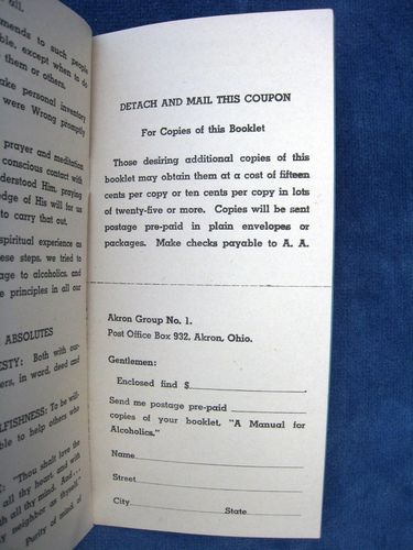 HISTOIRE 174d manual for alcoholics anonymous