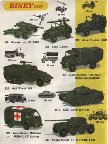 catalogue dinky toys 1969 p22 vehicules militaires (451 x 6