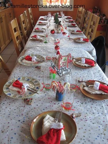 D co de table no l le blog de la famille storcka - Deco table noel rouge et or ...