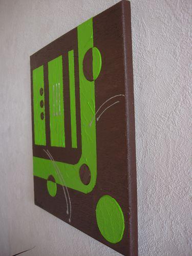 N 51 tableau marron et vert anis les peintures d 39 axelle g - Tableau vert anis ...