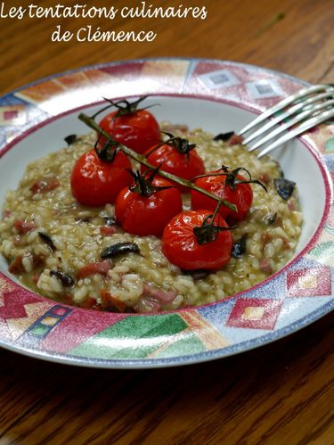 risotto pesto tomates rôties, bacon olive