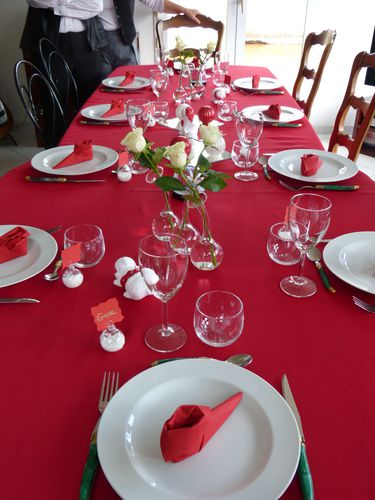 D coration de table no l rouge et blanc la passion de dharma - Table de noel rouge ...