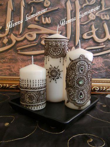 Bien connu Bougies décorés au hénné - Mes 1001 bricoles RA34
