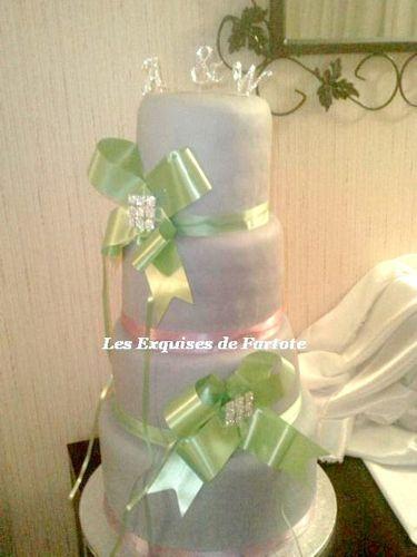 wedding cake mauve et vert
