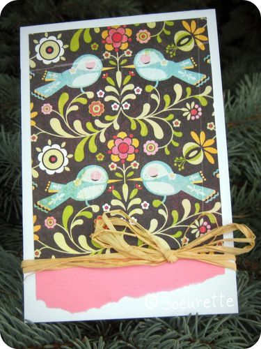 Scrap Soeurette Clean and Simple Carte Card Oiseaux Birds